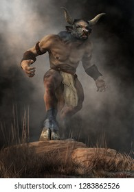 The Minotaur, half man half bull, stands on a rock in an aggressive stance, a monster of ancient Greek myth, emerges from the mists of legend and glares at you with a menacing look. 3D Rendering