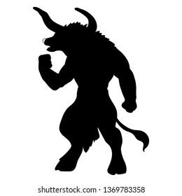 Minotaur silhouette ancient mythology fantasy. JPG illustration.