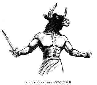 Minotaur with a sword