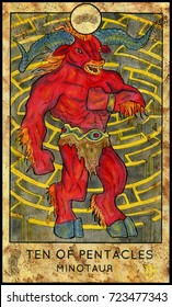 Minotaur. Ten of pentacles. Fantasy Creatures Tarot full deck. Minor arcana. Hand drawn graphic illustration, engraved colorful painting with occult symbols