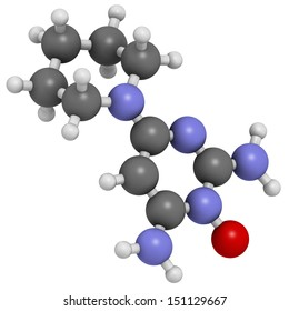 Minoxidil male pattern baldness (androgenic alopecia) drug, chemical structure. Atoms are represented as spheres with conventional color coding: hydrogen (white), carbon (grey), nitrogen (blue), etc