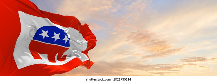 Minsk, Belarus - May, 2021: American Republican party, USA flag waving at sky background on sunset, panoramic view. copy space for wide banner. 3d illustration.