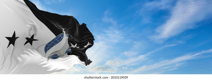 Minsk, Belarus - May, 2021: flag of Chief of Space Operations waving in the wind. USA National defence. Copy space. 3d illustration.