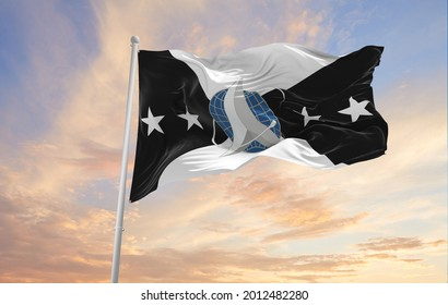 Minsk, Belarus - May, 2021: flag of Vice Chief of Space Operations waving in the wind. USA National defence. Copy space. 3d illustration.