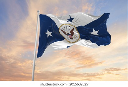 Minsk, Belarus - May, 2021: flag of United States Vice Chief of Naval Operations waving in the wind. USA National defence. Copy space. 3d illustration.