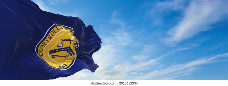 Minsk, Belarus - May, 2021: flag of United States Comptroller of the Currency waving in the wind. USA Departments. Copy space. 3d illustration,