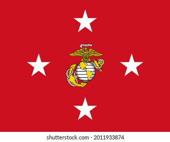 Minsk, Belarus - May, 2021: Top view of flag of Commandant of the United States Marine Corps, no flagpole. Plane design, layout. Flag background.