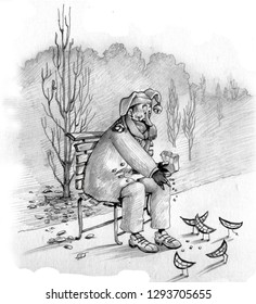 A minstrel in the park in autumn throws some crumbs to of the birdies to form of smiles