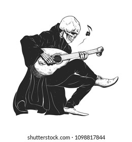 Minstrel playing guitar,grim reaper musician cartoon,gothic skull,medieval skeleton,death poet illustration,evil bones halloween
