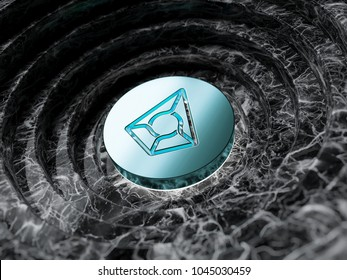 Mint Color Augur Symbol in the Black Marble Background. 3D Illustration of Mint Augur Logo for Business and Finance News.