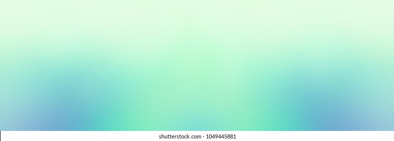 Mint color banner. Blue green turquoise ombre empty background. Sea water abstract texture. Tropics blurred illustration. Iridescent defocused template.