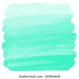 Mint green watercolor hand drawn background with uneven edges isolated on white. Brush stroke shape, silhouette. Square painted template. Watercolour gradient fill with rough texture.