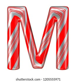 Mint hard candy cane 3d alphabet collection striped in Christmas colours. Letter M. 3D illustration.