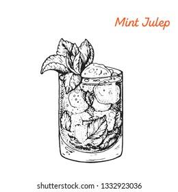 Mint Julep cocktail illustration. Alcoholic cocktails hand drawn illustration. Sketch style.