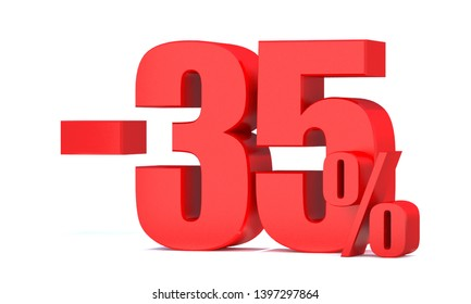 Minus 35 Percent off 3d Sign on White Background, Special Offer 35% Discount Tag, Sale Up to 35 Percent Off,big offer, Sale, Special Offer Label, Sticker, Tag, Banner, Advertising, offer Icon
