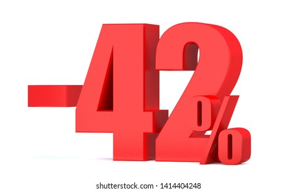 Minus 42 Percent off 3d Sign on White Background, Special Offer 42% Discount Tag, Sale Up to 42 Percent Off,big offer, Sale, Special Offer Label, Sticker, Tag, Banner, Advertising, offer Icon