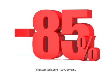 Minus 85 Percent off 3d Sign on White Background, Special Offer 85% Discount Tag, Sale Up to 85 Percent Off,big offer, Sale, Special Offer Label, Sticker, Tag, Banner, Advertising, offer Icon