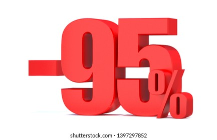 Minus 95 Percent off 3d Sign on White Background, Special Offer 95% Discount Tag, Sale Up to 95 Percent Off,big offer, Sale, Special Offer Label, Sticker, Tag, Banner, Advertising, offer Icon