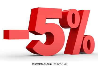 Minus five percent. Discount 5 %. 3D illustration on white background.