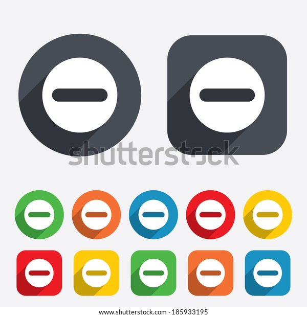 Minus sign icon. Negative symbol. Zoom out. Circles and rounded squares 12 buttons.