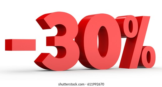 Minus thirty percent. Discount 30 %. 3D illustration on white background.