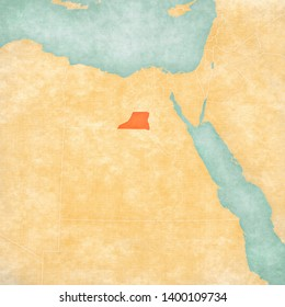 Minya Governorate on the map of Egypt in soft grunge and vintage style, like old paper with watercolor painting.