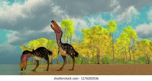"Miocene Kelenken Birds 3D illustration - Two Kelenken ""Terror Birds"" come down to a lake to drink in the Miocene Period of Argentina, South America."