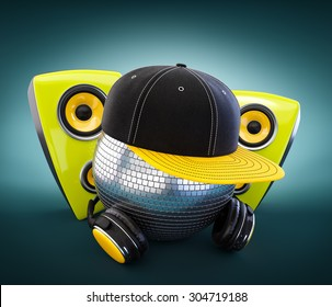 Mirror ball with cap and headphones. DJ.