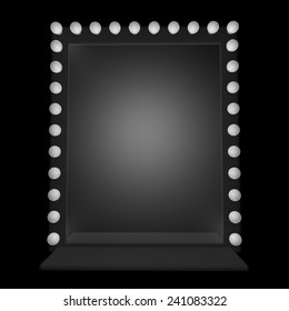 A mirror with bulbs around, 3d render
