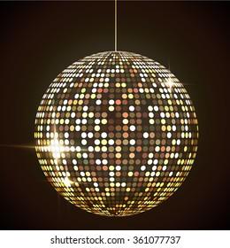 Mirror disco ball illustration. Glamorous shpere. Glowing design element.