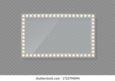 Mirror in frame with gold lights makeup in changing room or backroom. Makeup mirror isolated with golden lights.
