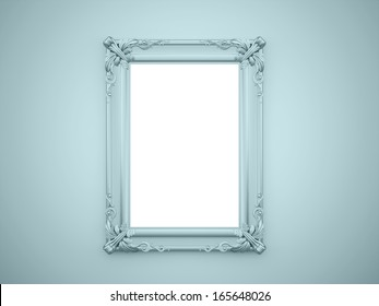 Mirror frame vintage rendered on blue