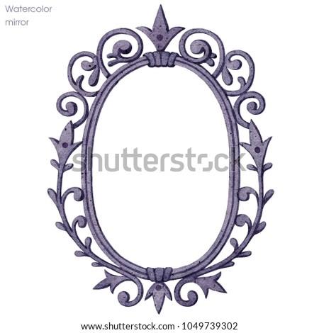 antique mirror frame gold mirror frame watercolor antique mirror frame stock illustration