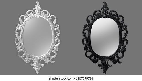 Mirror magical, fortune telling and fulfillment of desires. Isolated background, romantic, light background