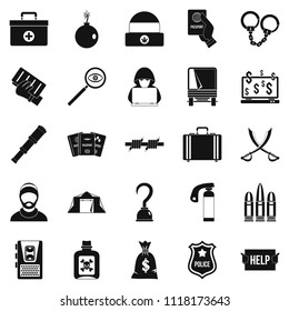Misconduct icons set. Simple set of 25 misconduct icons for web isolated on white background
