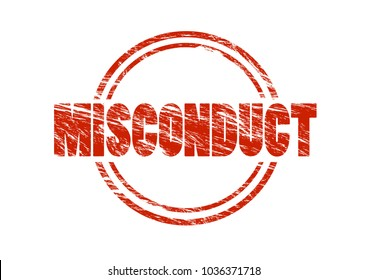 misconduct red vintage rubber stamp isolated on white background