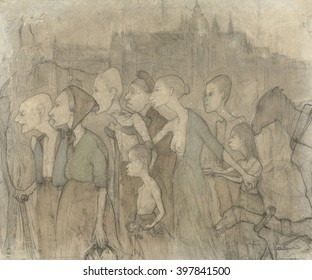 Misery, by Charlotte Bouten, 1880-95, Dutch drawing, colored chalk. Group of emaciated men, women and children, half clothed and some on crutches, with city in distance