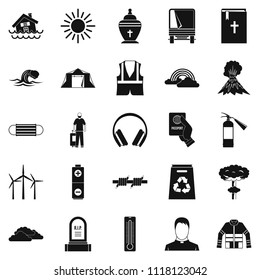 Misfortune icons set. Simple set of 25 misfortune icons for web isolated on white background