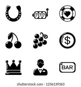 Misfortune icons set. Simple set of 9 misfortune icons for web isolated on white background