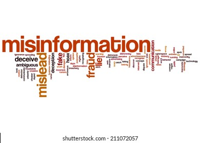 Misinformation concept word cloud background