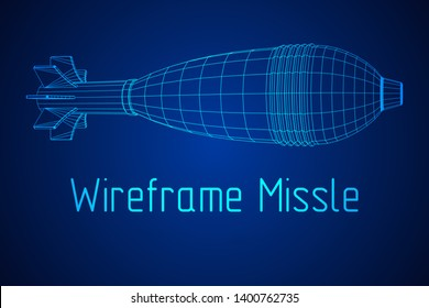 Missile, nuclear bomb or mortar mine Wireframe low poly mesh illustration