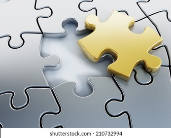 Missing gold puzzle piece on puzzle parts.