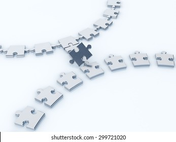 missing piece from a jigsaw 3d render, business concept