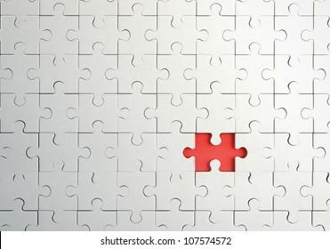 missing piece in puzzle, closeup
