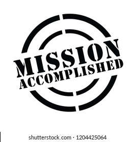 mission accomplished stamp on white background