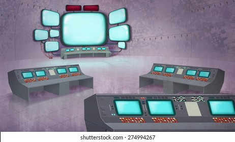 Mission Control Center Interior. Data station with Panels, Computers, Displays. Digital background raster illustration.
