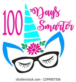 """MISSISSAUGA, CANADA – January 30, 2019: Art work showing an unicorn and a quote """"100 Days Smarter"""" created for use on the products signifying the completion of 100 days of school."""