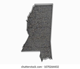 Mississippi MS Road Map Pavement Construction Infrastructure 3d Illustration