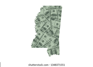 Mississippi State Map and Money Concept, Hundred Dollar Bills