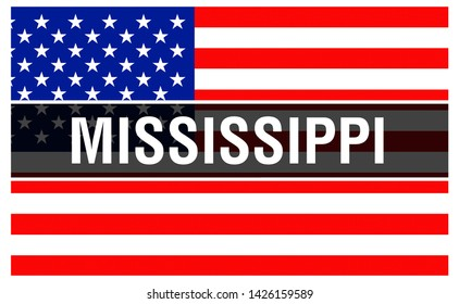 Mississippi state on a USA flag background, 3D rendering. United States of America flag waving in the wind. Proud American Flag Waving, US Mississippi state . US symbol and American Mississippi backgr